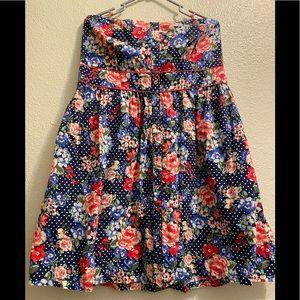TORRID Polka Dot and Floral Print Strapless Dress